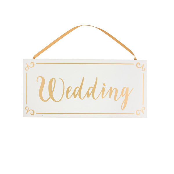 Sass & Belle Gold & White Wedding Hanging Plaque
