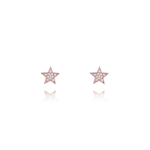 Joma Jewellery Florence Rose Gold Pave Earrings - Stars