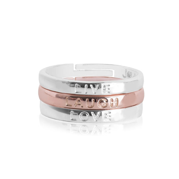 Joma Jewellery Sentiment Stacking Rings - Live Laugh Love