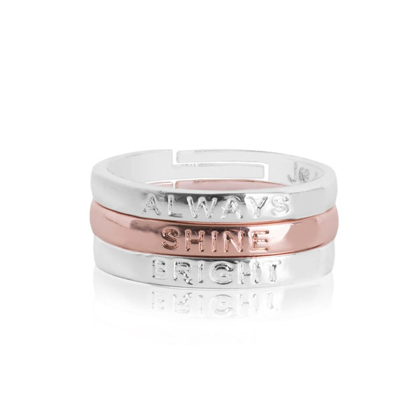 Joma Jewellery Sentiment Stacking Rings - Always Shine Bright
