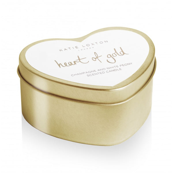 Katie Loxton Gold Heart Tin Candle - Heart of Gold (Champagne & White Peony)