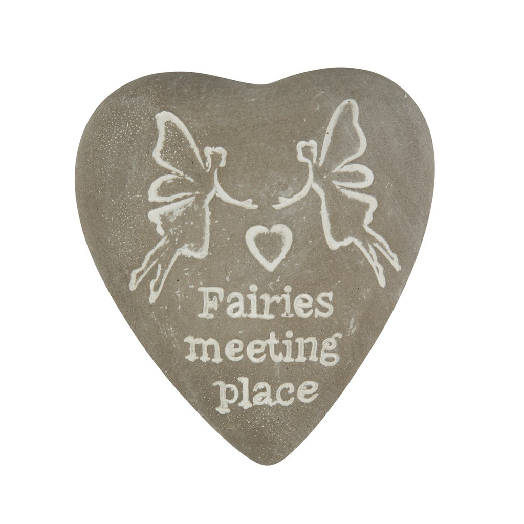 Sass & Belle Engraved Heart Pebble - Fairies Meeting Place
