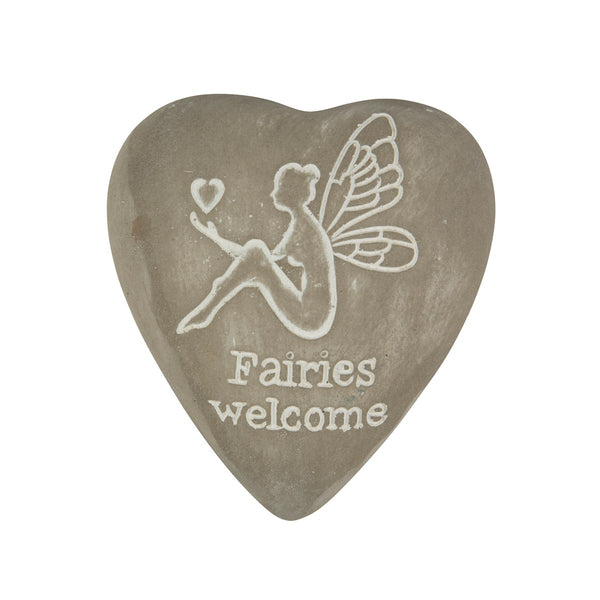 Sass & Belle Engraved Heart Pebble - Fairies Welcome