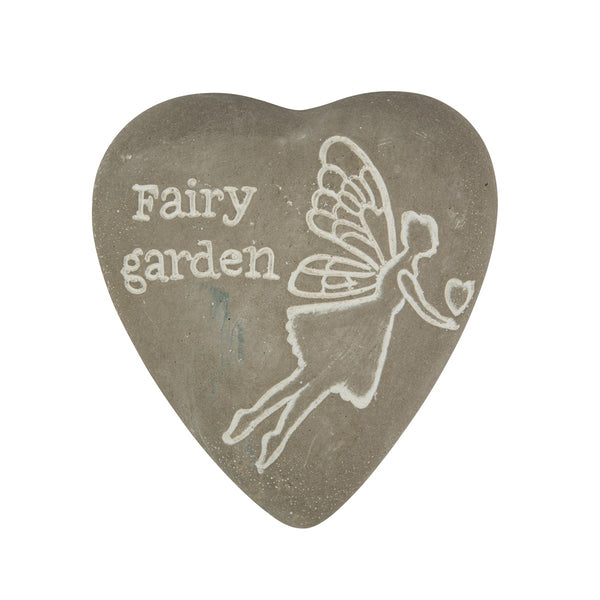 Sass & Belle Engraved Heart Pebble - Fairy Garden