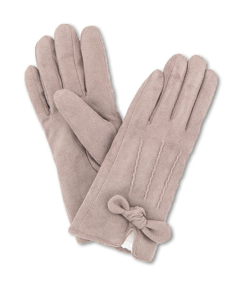 Powder Phoebe Lined Faux Suede Gloves - Stone