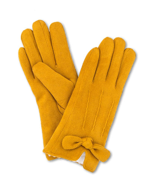 Powder Phoebe Lined Faux Suede Gloves - Mustard