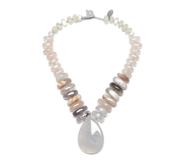 Lola Rose Akindi Necklace - Multi White Agate / Beryl Stone