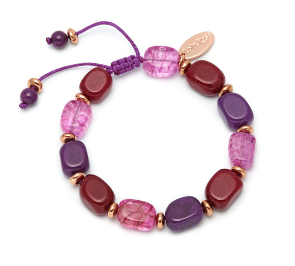 Lola Rose Angel Bracelet - Red Plum Quartzite / Purple Rock Crystal
