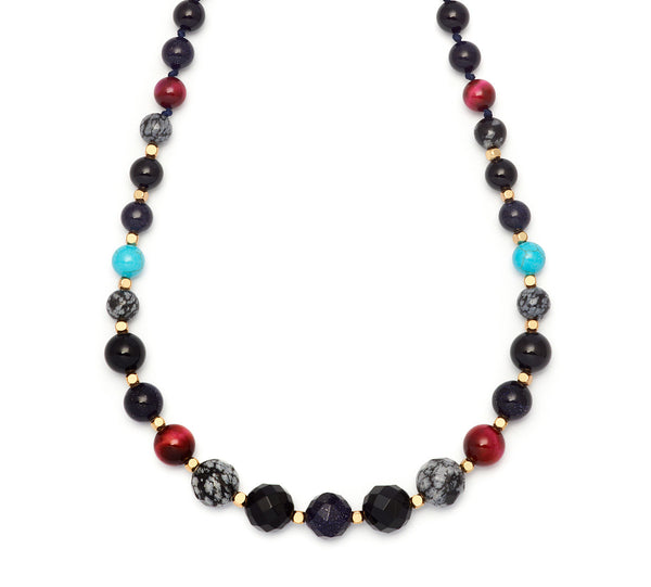 Lola Rose Apollo Necklace - Black Agate / Fuchsia Tiger's Eye