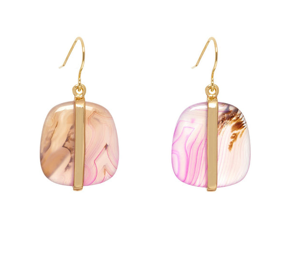 Lola Rose Boutique Bassa Earrings - Pink Montana Agate
