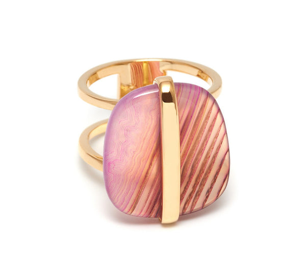 Lola Rose Boutique Bassa Ring - Pink Montana Agate