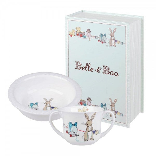 Belle & Boo Boo & Friends Blue Porringer Set