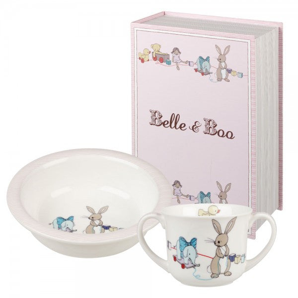 Belle & Boo Boo & Friends Pink Porringer Set