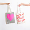 Ban.do Canvas Tote - Black & White Stripe With Neon Heart