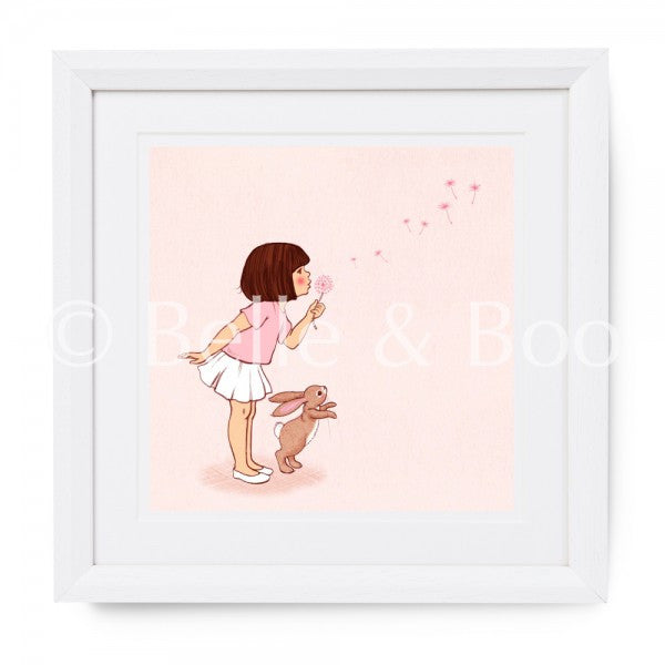 "Belle & Boo Dandelion 10 x 10"" Framed Art Print (Signed)"