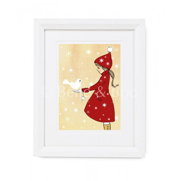 "Belle & Boo Elle & The Snow Dove 11 x 14"" Framed Art Print (Signed)"