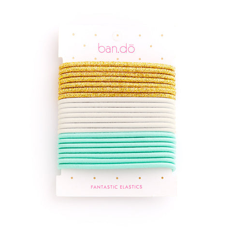 Ban.do Fantastic Elastics - Metallic Gold / White / Mermaid