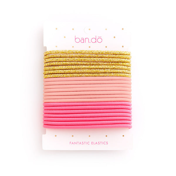Ban.do Fantastic Elastics - Metallic Gold / Blush / Neon Pink