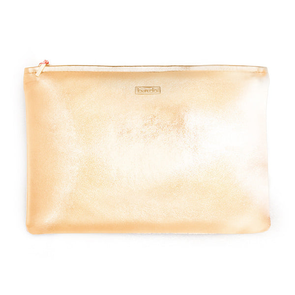 Ban.do Keep It Classy Zip Pouch - Metallic Rose Gold