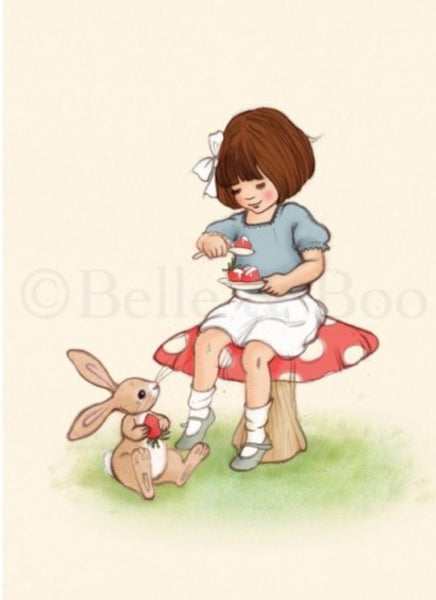 Belle & Boo Postcard - 'Strawberries & Cream