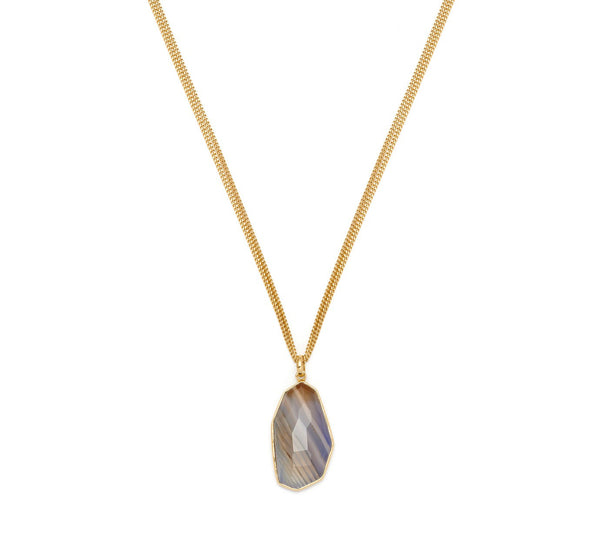Lola Rose Boutique Delfine Necklace - Dark Blue Montana Agate