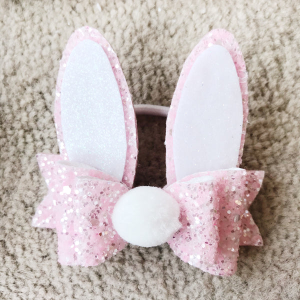Bunny Ears Hair Bobble - Pink Glitter