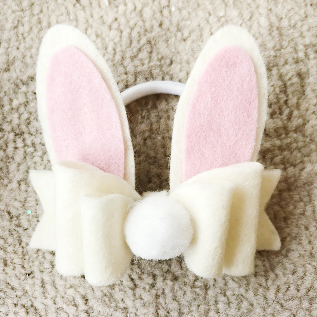 Bunny Ears Hair Bobble - Cream Felt