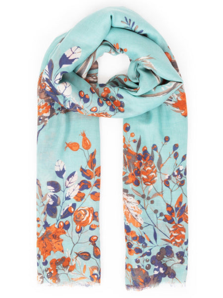 Powder Autumn Stag Print Scarf - Ice