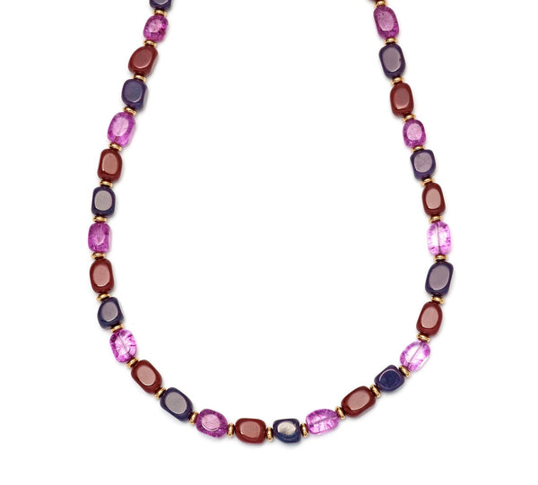 Lola Rose Islington Necklace - Aubergine Quartzite / Red Plum Quartzite