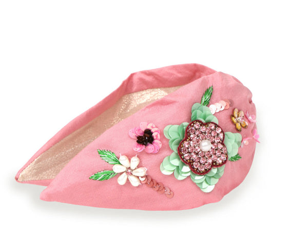 Powder Embroidered Floral Headband - Pink