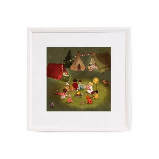 "Belle & Boo Campfire Stories 16 x 16"" Framed Art Print (Signed)"