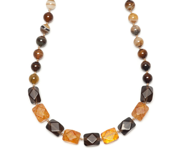 Lola Rose Barton Necklace - Chocolate Montana Agate / Smokey Obsidian