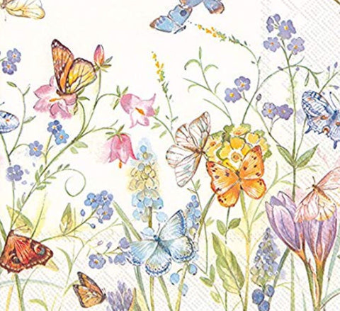 Butterflies And Blossoms Paper Napkins
