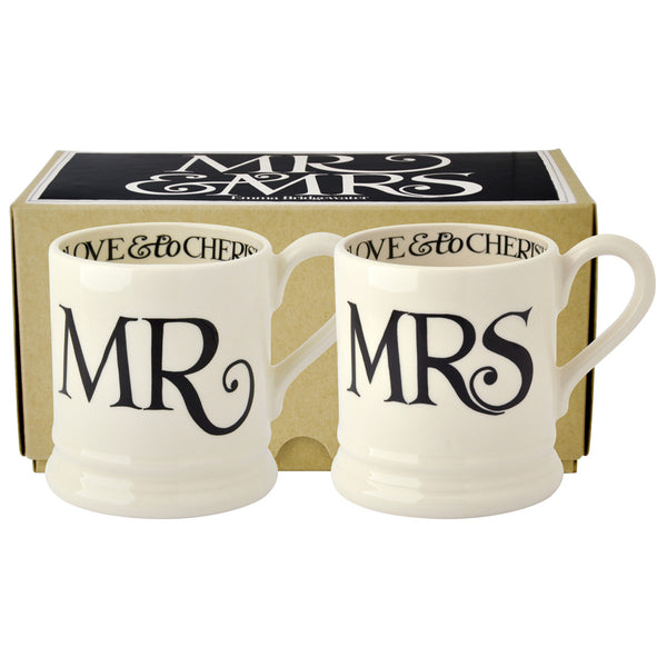 Emma Bridgewater Black Toast Mr & Mrs Set of 2 1/2 Pint Mugs (Boxed)