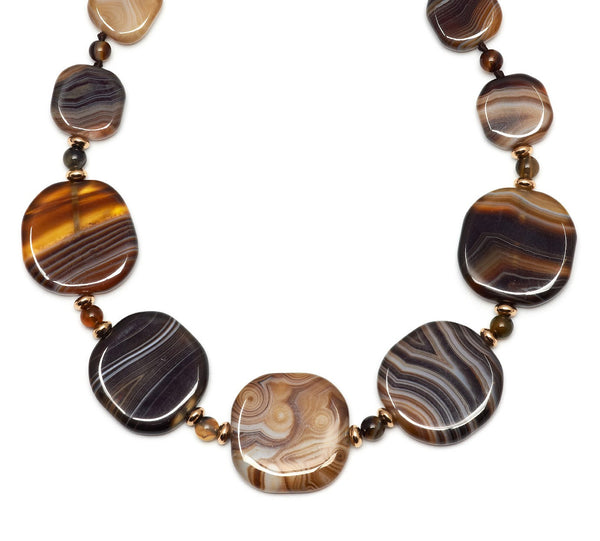 Lola Rose Trinah Necklace - Chocolate Montana Agate