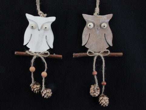 Wooden Owl on Twig Tree Decoration - White / Brown