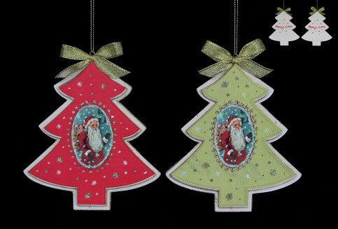 Wooden Tree with Santa Plaque Tree Decoration - Red / Green