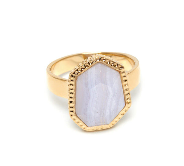 Lola Rose Boutique Zari Ring - Blue Lace Agate