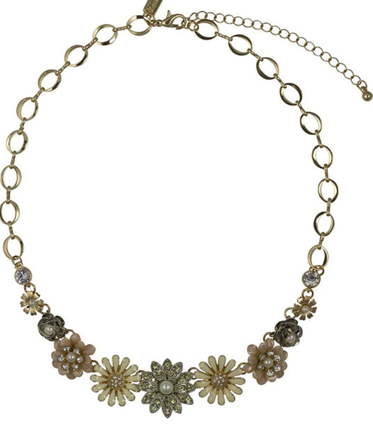 Lovett & Co Rose and Aster Flower Necklace Peaches and Cream