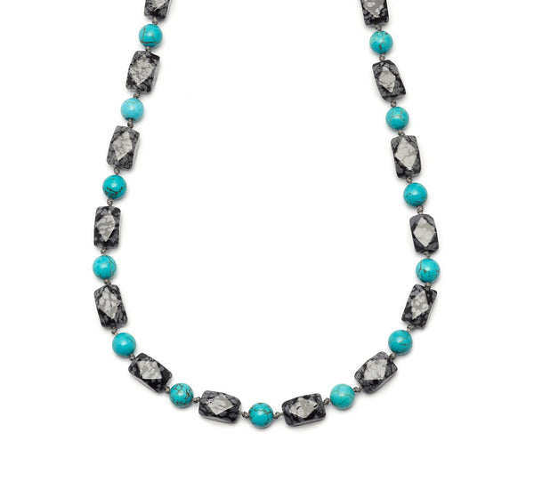 Lola Rose Elis Necklace - Snowflake Obsidian / Natural Blue Magnesite
