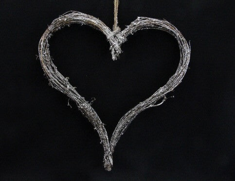 Large Silver Glitter Twig Heart Decoration