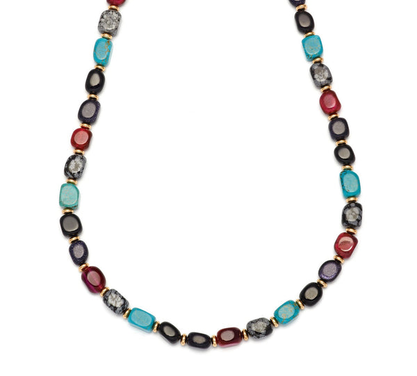 Lola Rose Islington Necklace - Black Agate / Fuchsia Tigers Eye