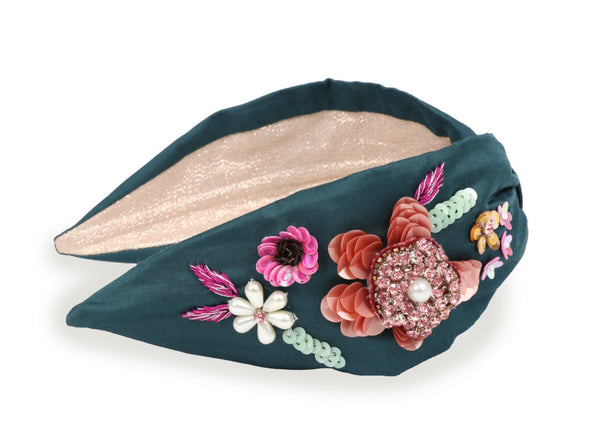 Powder Embroidered Floral Headband - Teal