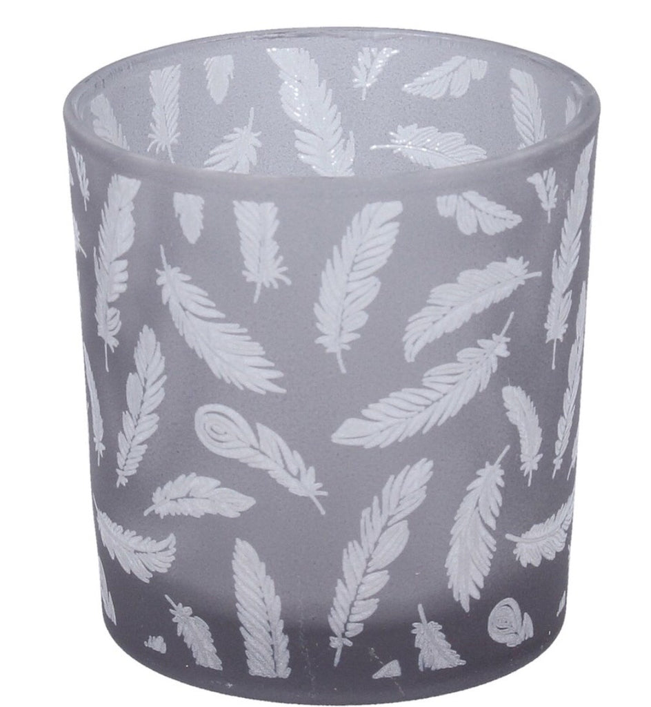 Gisela Graham Grey Glass Feather Tealight Holder