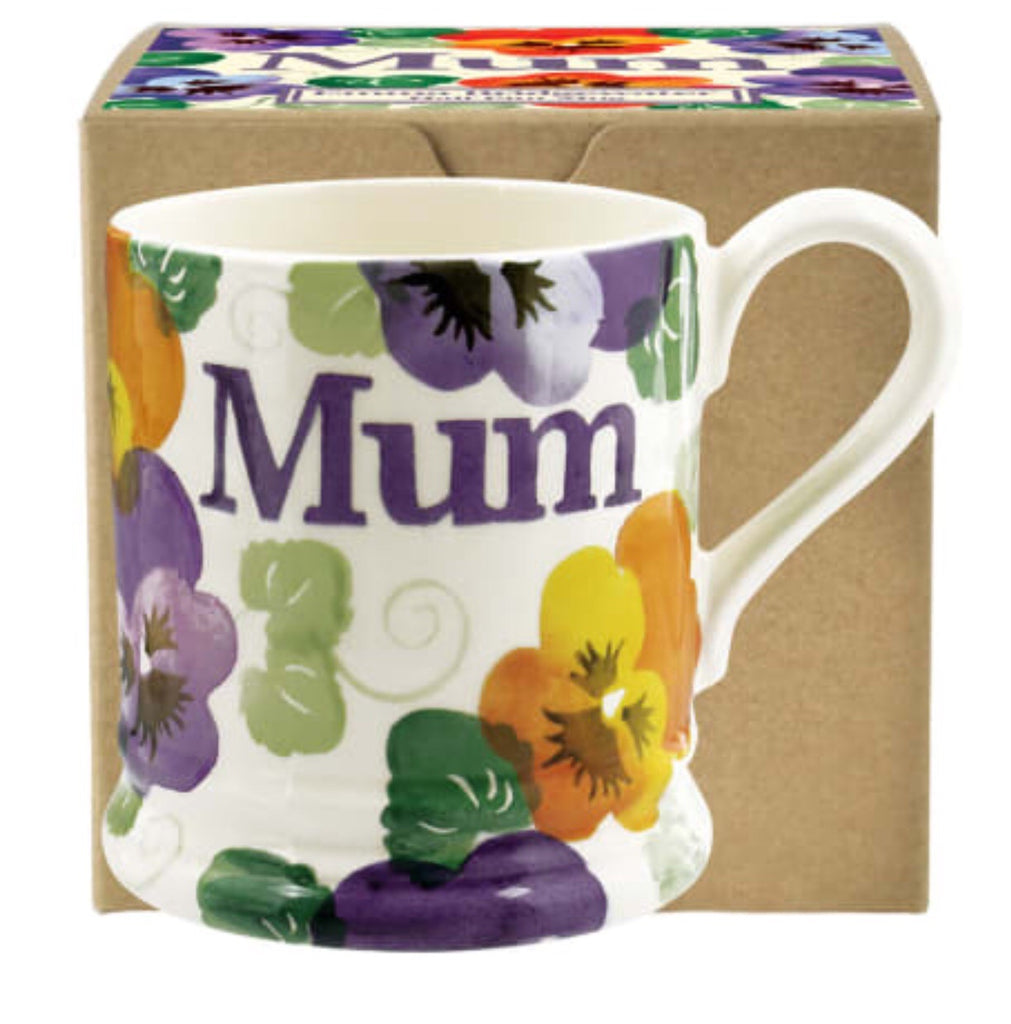 Emma Bridgewater Purple Pansy Mum Half Pint Boxed Mug