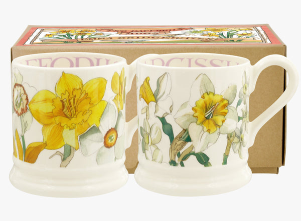 Emma Bridgewater Flowers Daffodils & Narcissus Set of 2 1/2 pint mugs