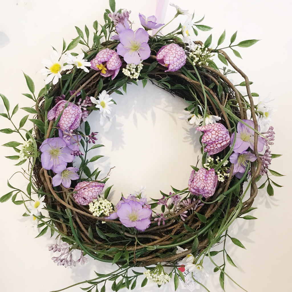 Gisela Graham Purple Flower Wreath
