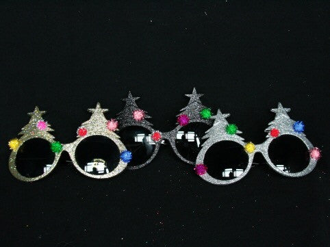 Glitter Christmas Tree Sunglasses - Gold / Black / Silver-Silver