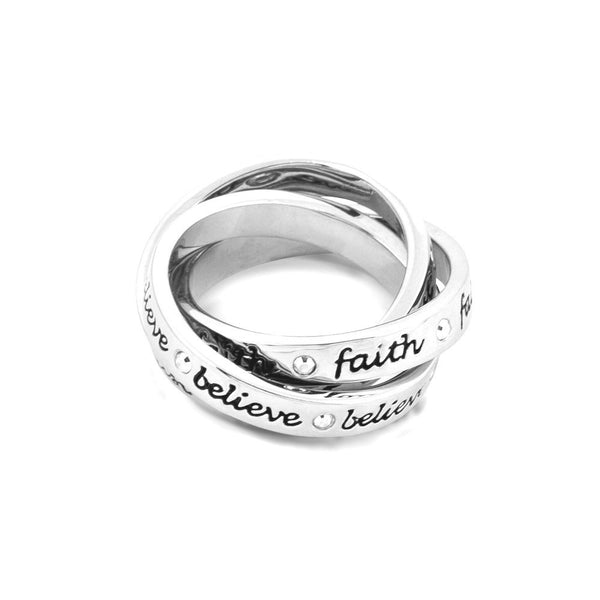 Disney Couture Tinkerbell Platinum Triple Interlinked Ring - Faith, Trust, Believe