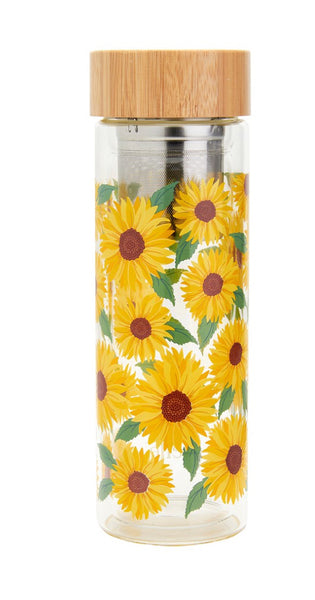 Sass & Belle Sunflower Glass Water Bottle with Infuser